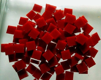 """100 1/4"""" CANDY APPLE RED Opal Stained Glass Tiny Tile Mosaic Supply T6"""