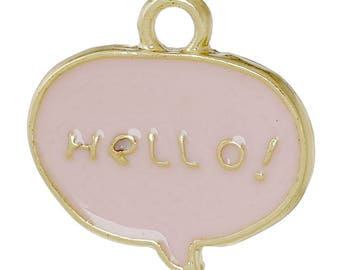 1 charm plated rose gold Hello ENAMELLED 18x18mm