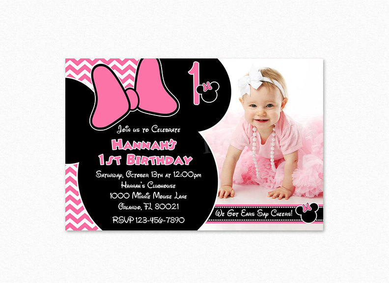 Minnie mouse birthday party invitation pink chevron minnie zoom stopboris Images