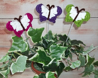 Crochet Butterflies, Butterfly Plant Pokes, Home Decor, Housewarming Gift, Mothers Day Gift, Plant Decor, Indoor Garden, Set of 3 Pokes