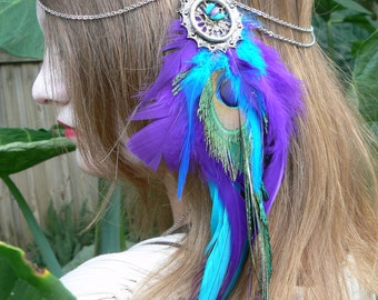 head chain peacock  feather head chain headdress  halo head in tribal bohemian gypsy hippie  hipster style