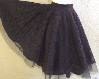 50s Circle Skirt in Black Lace Tulle and Taffeta