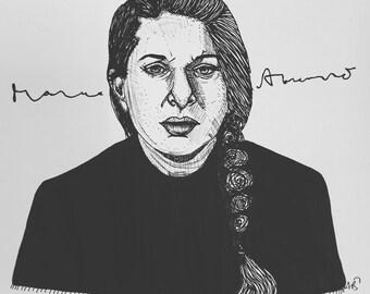 Maria Abramovic 9x12 Original ink line drawing
