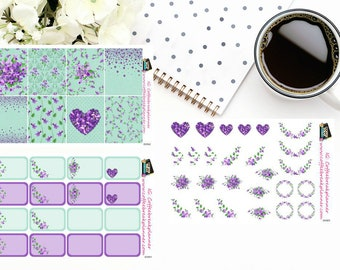 Planner Stickers | Garden Violet Collection| Full Box Stickers|Half Box Stickers|Floral Elements|GV001, GV002, GV003