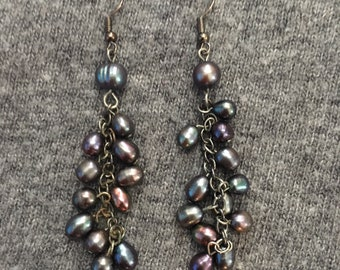multi iridescent fresh water pearl earrings