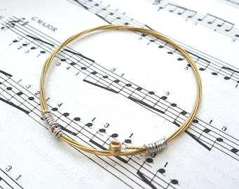 Guitar string bracelet bangle, Size XS, guitarist, guitar player, acoustic gold brass, cool music rock jewellery (65mm diameter)