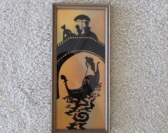 Vintage Silhouette Picture, Gondola, Ladies, Bridge, Sunset, Wall Decor
