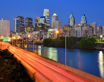CANVAS Philadelphia Skyline Dusk Sunset Philly Panoramic Photo Cityscape Print