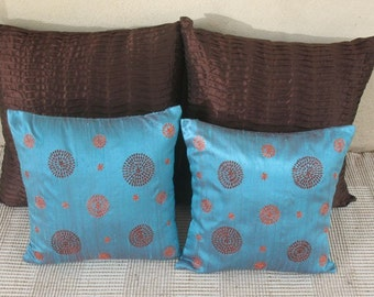 Turquoise blue shot color dupioni silk throw pillow cover with retro circle design  Embroidered 16 inch cushion cover. Can be customized.