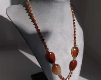 Carnelian Teardrop Necklace with Rectangular Pendant