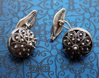 Vintage Sterling Silver Ottoman Filigree Beads Cuff links