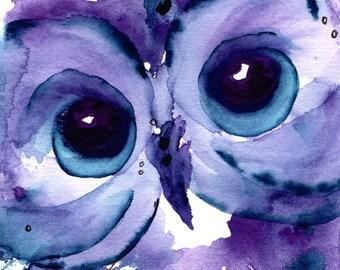 Owl Art Print, Original Bird Art,  8 x 10 Owl Art, Child's Room Decor