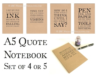 Set of Quote Journals, A5 Notebooks | Literary Quotation Kraft Cahier Set - NaNoWriMo supplies, Gift Set for Writer | Ruled Recycled Paper