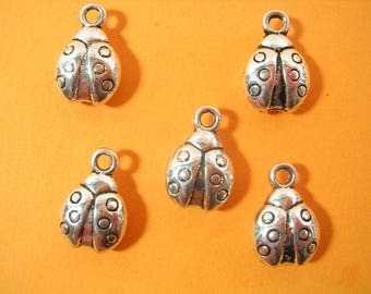 SET 5 METALS CHARMS: Ladybug 12mm