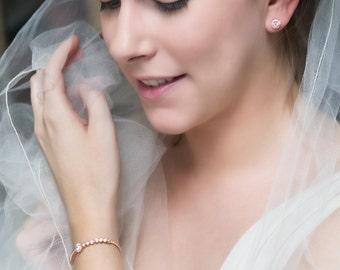 Solitaire Stone Bracelet, Rose Gold Bridal Accessory, Wedding Bracelet, CZ Crystal Jewelry, Bridesmaid Jewelry, Bracelet for Her, B161-RG
