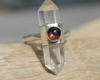 Silver ring natural quartz crystal and cat's eye shantilight Prism
