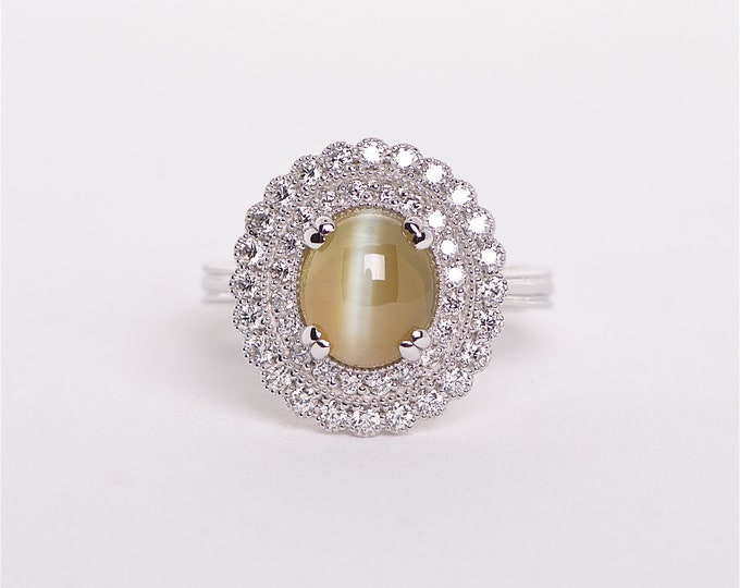 The Kristal - GIA certified 18K Cabochon Chrysoberyl and Diamond ring