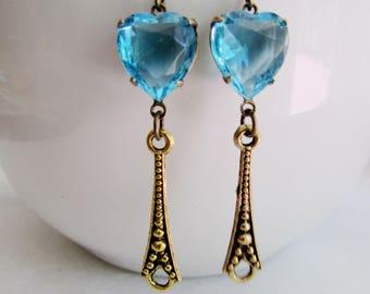 Aquamarine Heart Earrings, Brass Etched Dangle, Victorian, Vintage Style, Birdesmaid Earrings, Wedding Jewelry, Redpeonycreations