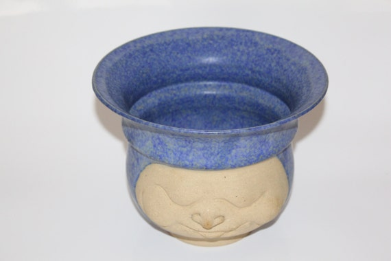 Sleeping Face Pottery Planter or Bowl Signed Japanese