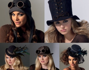 Sewing Pattern-McCall's 7335- Steampunk Top Hat and Avaitor Hats Onesize