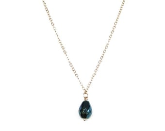 Necklace with Green Iris Faceted Teardrop