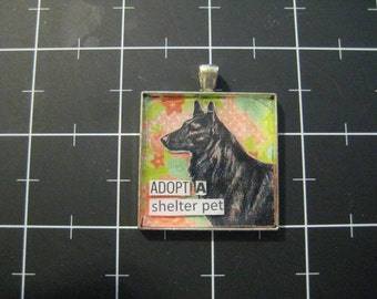 """Rescue Dog Pendant """"Adopt a Shelter Pet"""", Belgian Malinois, Tervueren, Sheep Dog, 50% goes to the current focus animal charity"""