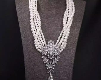 Pearls necklace, wedding jewelry, bridal necklace, rhinestone necklace, bridal jewelry, wedding bridal, pearls necklace, prom statement