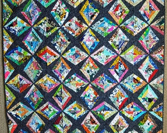 Scrappy patchwork lap quilt, contemporary modern scrap pieced quilt, quilted sofa throw, colorful quilt, FREE SHIPPING, quiltsy handmade