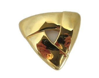 Monet Brooch, Vintage Triangle Brooch, Shiny Large Goldtone Pin, Signed Designer Jewelry, Gift Ideas