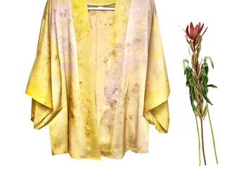 Mid silk kimono robe duster: Yellow, chartreuse, green, mauve, print, floral, chartreuse, ombre dye