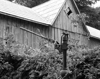 Old Barn photograph, All But Forgotten,  Barn and Water Pump card, blank inside, write own msg. Canadian scenery