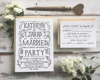Quirky Custom Letterpress Wedding Invitation Set - offbeat nerdy funny fun, boho floral, pizza beer dinosaur animal woodland, handmade