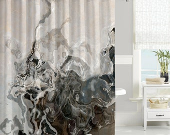 Abstract Art Shower Curtain Contemporary Bathroom Decor Brown And Gray