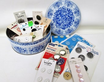 Vintage Card Buttons | Blue White Tin | Button Box | Sewing Buttons | Button Box | Buttons | Craft Buttons