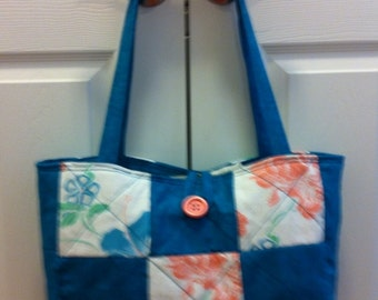 Teal and Salmon Quilted Bag