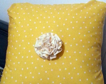 Yellow Poka Dot Pillow Cover