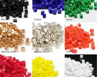 Miyuki square glass seed beads 3.5mm opaque colors 25 grams, 25 grams Miyuki 3.5mm square opaque colors seed beads.