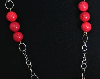 Red Necklace and Earrings with Coral Beads