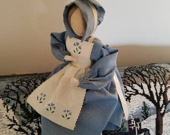 Old Fashioned Fabric Doll with Wooden Base
