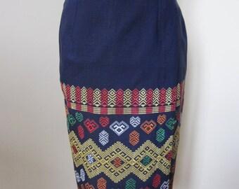 Pencil skirt and portfolio, ethnic embroidery, purple fabric
