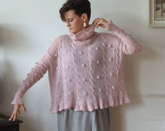 Oversized sweater with braids and bubbles, dusty pink cropped sweater, braided poncho, kid mohair pullover, avant garde shrug, wedding shrug