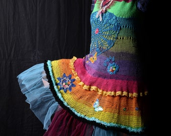 Unique crocheted dress with tulle