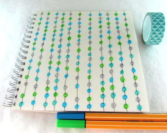 Square notebook, gratitude journal, to do list notepad, spiral notebook, recycled writing pad, sketchpad, garland, ecofriendly, planner