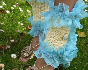 Victorian Style Leg Warmers - Crochet and Lace Spats in Cream with Blue Lace - Kawaii Fashion Accessories