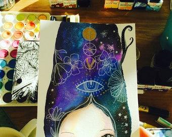 Cosmic girl - cosmic art, watercolor illustration, night sky, girl and cosmos, mystic ,tiny art, deep blue, susana Tavares