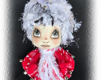 Annabelle, A Lil Darlin Original, Christmas Belle Series, OOAK Art Doll, Cloth Doll, Christmas, Handmade, Hand Painted, Collectible Ornament