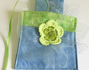 Blue & Green Wedding Ring Bearer Pouch for Dog or Cat Collar