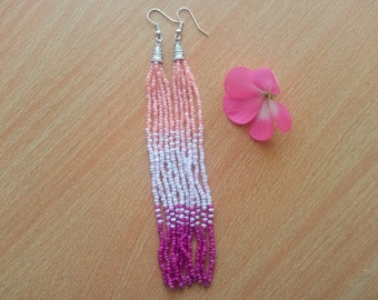 Long Earrings Pink seed bead Earrings Magenta earrings Ombre Earrings