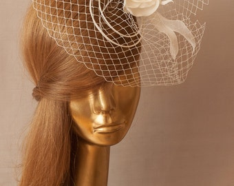 BIRDCAGE VEIL. Bridal FASCINATOR .  Ivory Veil .Romantic wedding Headpiece with beautifull Delicate Flowers.