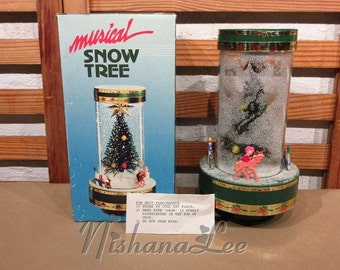 Vintage Musical Bottle Brush Christmas Tree Wind Up with Falling Snow